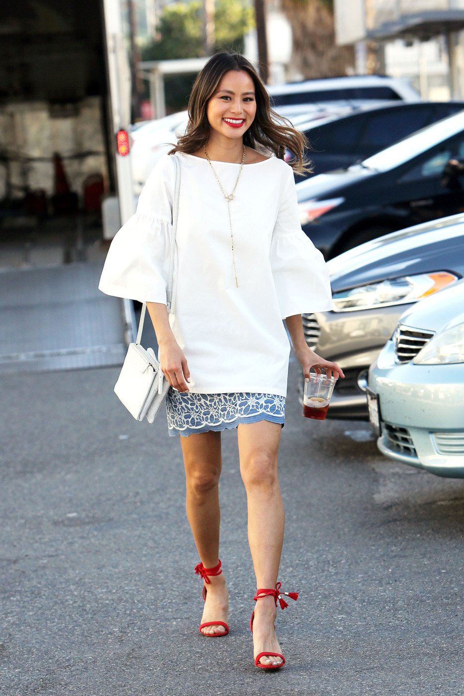 Jamie Chung Peasant Top Denim Skirt
