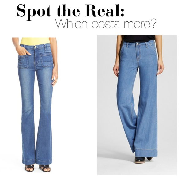 Can you guess which high-rise wide leg jeans cost more?
