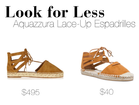 Aquazzura lace up espadrille flats look for less