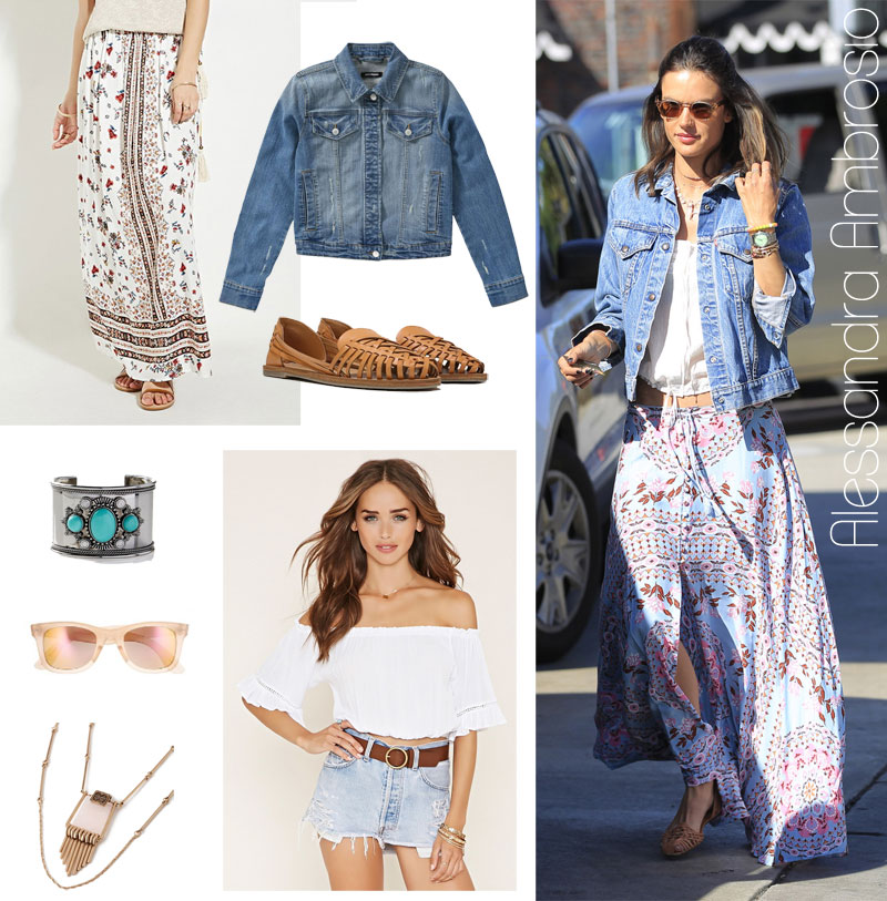 Alessandra Ambrosio's maxi skirt, jean jacket and huarache flats look for less