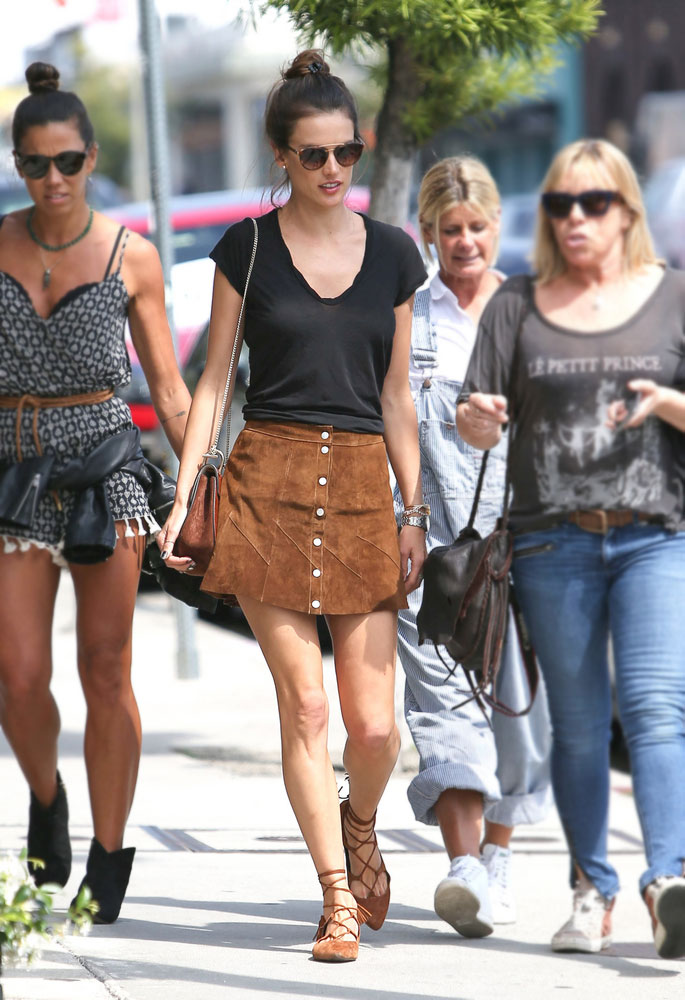 Alessandra Ambrosio's suede skirt look for less