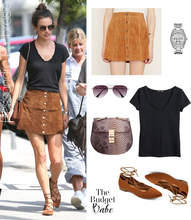 Made in the Suede: Alessandra Ambrosio's Button-Front Skirt and ...
