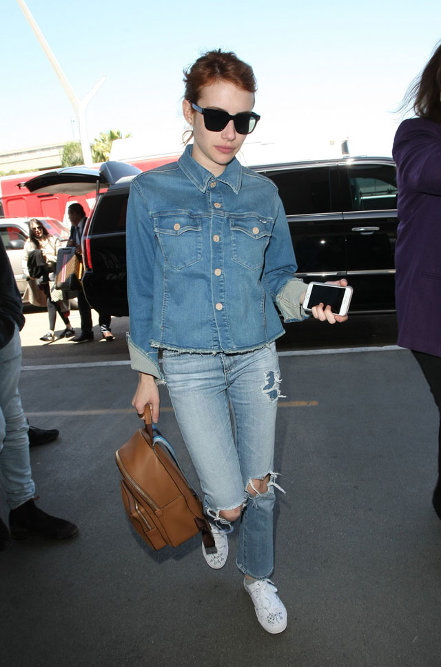 Emma Roberts in double denim and white sneakers