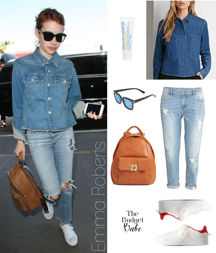Emma Roberts denim look for less