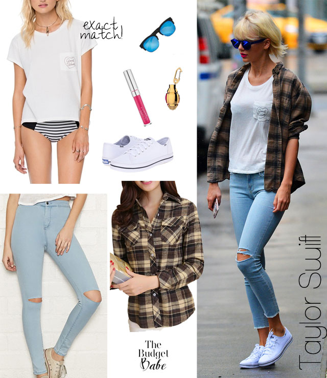 Taylor Swift casual style outfit idea with plaid shirt, ripped jeans and white sneakers