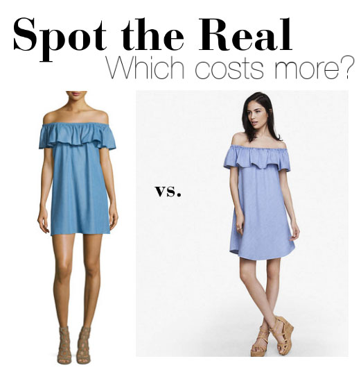 98feac743c Spot the Real  Denim Off-the-Shoulder Dress - The Budget Babe ...