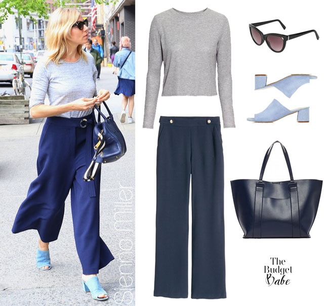Love Sienna Miller fashion style? Try her blue high waist pants and mules look for less