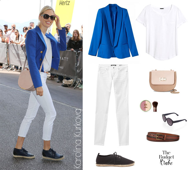 Karolina Kurkova's blue blazer look for less // thebudgetbabe.com