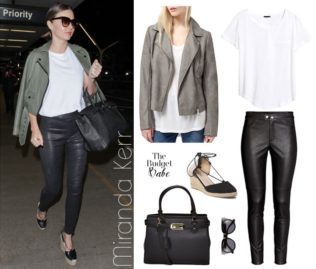 Miranda Kerr leather pants look for less