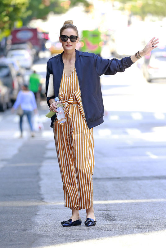 aab82196b29 Mixed Media  Olivia Palermo s Striped Jumpsuit and Loafers.
