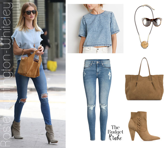 Rosie Huntington-Whiteley's double denim look for less