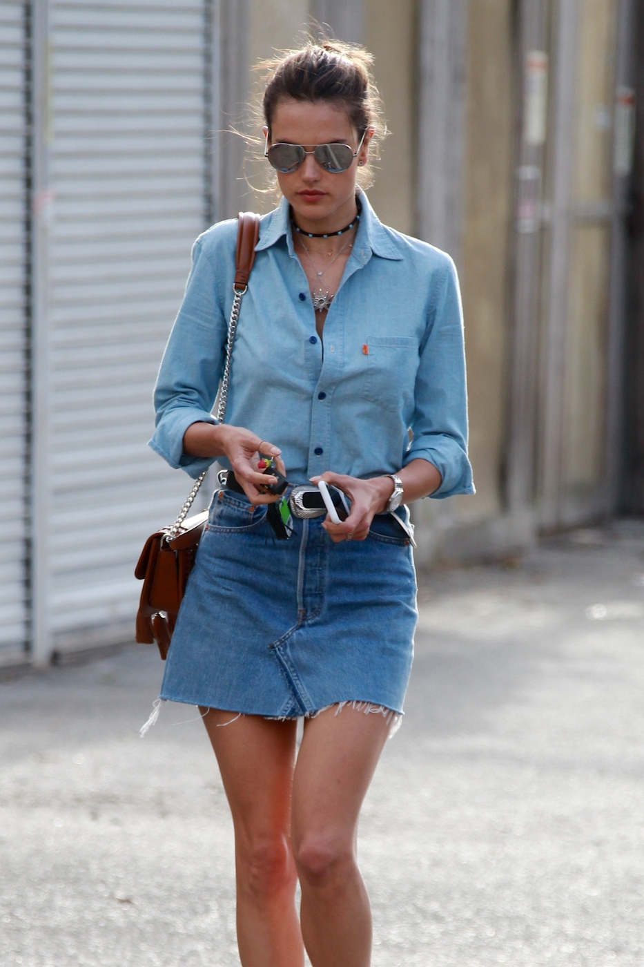 Alessandra Ambrosio's double denim summer outfit