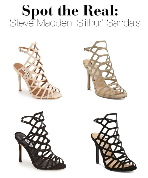 Can you spot the real Steve Madden 'Slithur' sandals?