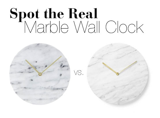 Can you spot the real marble wall clock?