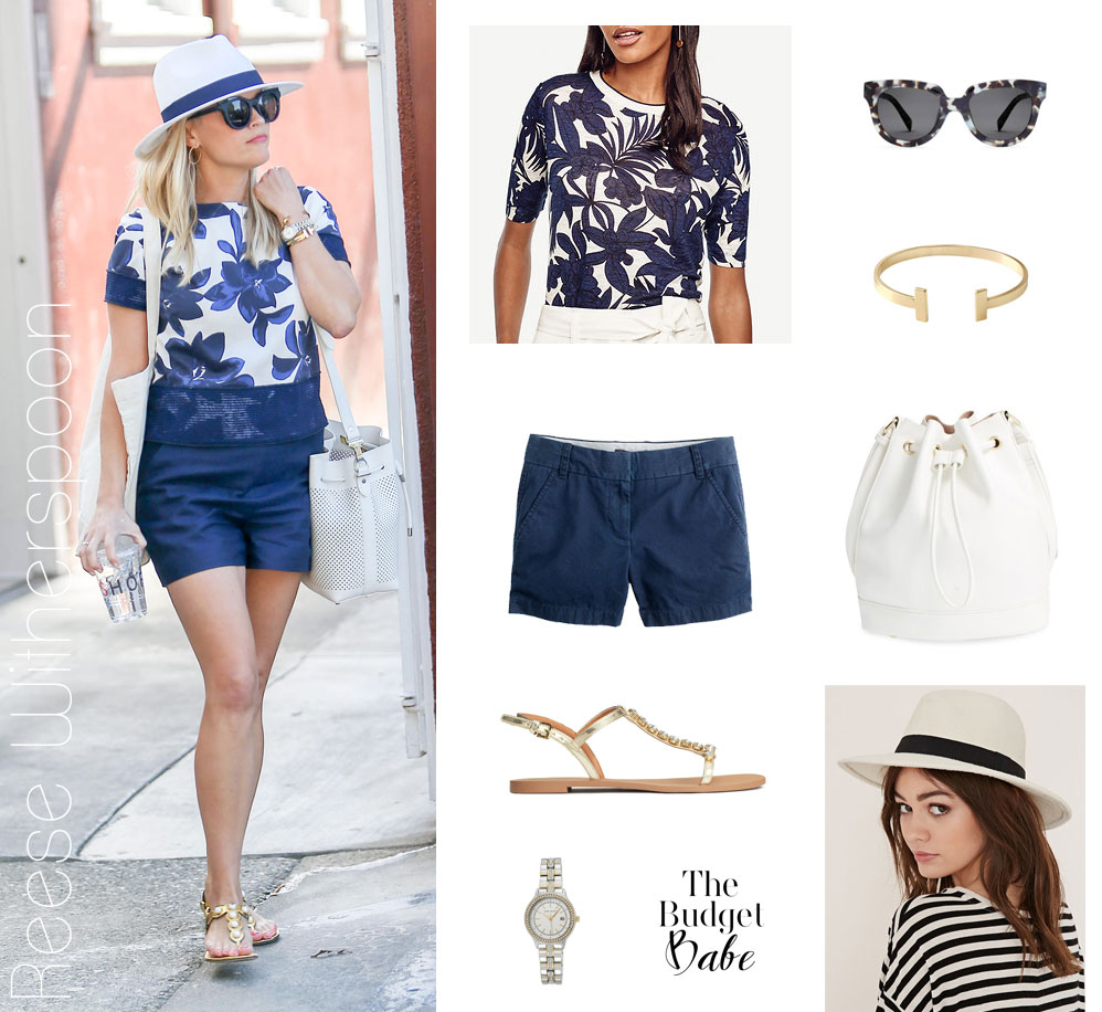 Reese Witherspoon wears a blue floral top, blue shorts and white bucket bag while out and about.
