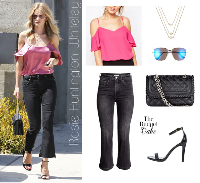 Get Rosie Huntington Whiteley's off the shoulder top summer look for less.