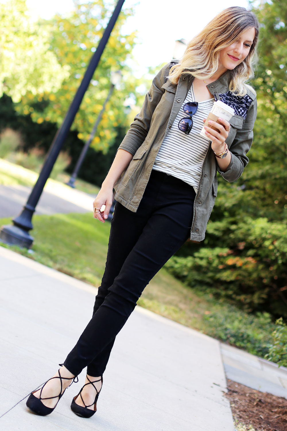 Pair a cargo jacket with a striped tee and lace-up flats for a chic back-to-school look.