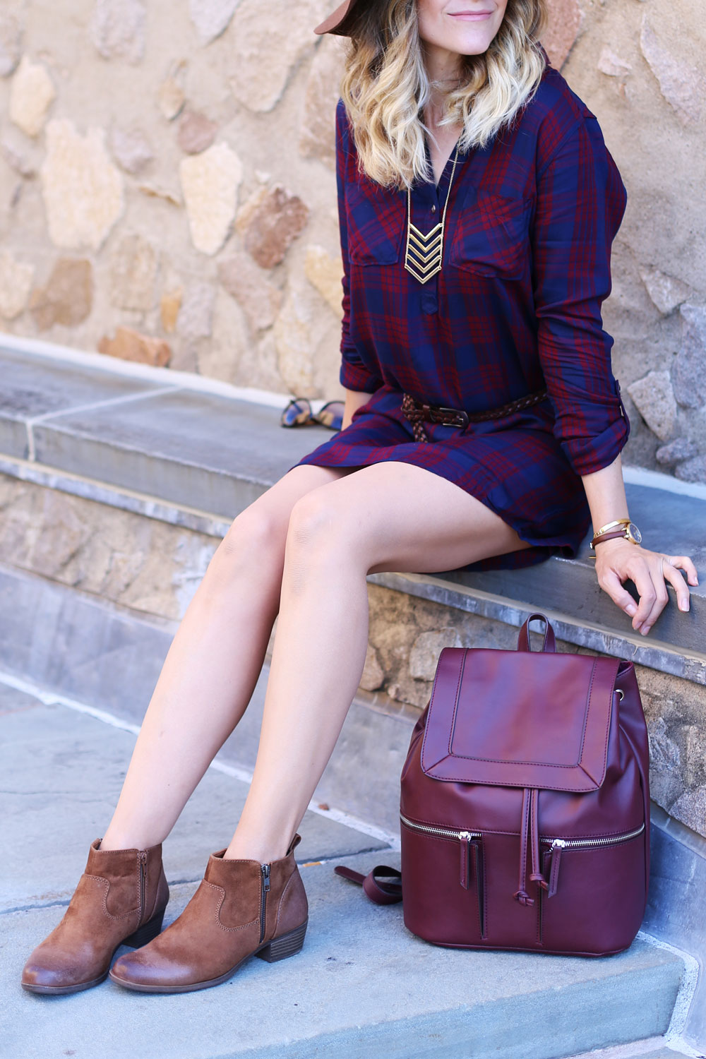 Plaid dress and ankle boots