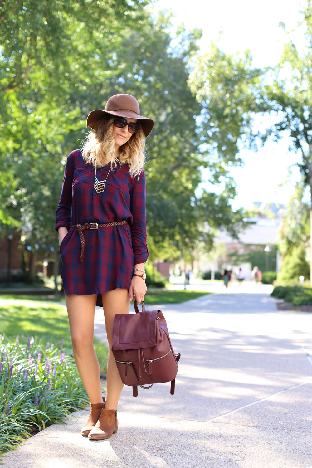 Plaid shirtdress with ankle boots