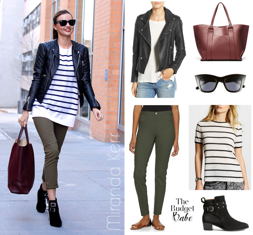 Get Miranda Kerr's moto jacket, striped sweater, olive pants and ankle boots look for less.