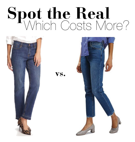 Can you guess which raw edge jeans cost more?