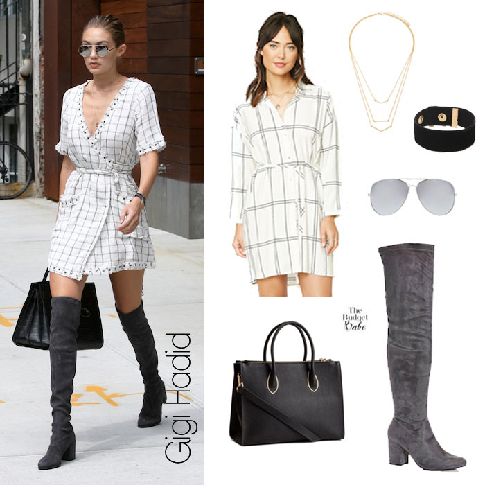 c40af58d8e0 Check Mate  Gigi Hadid s Wrap Dress and Over the Knee Boots Look for ...