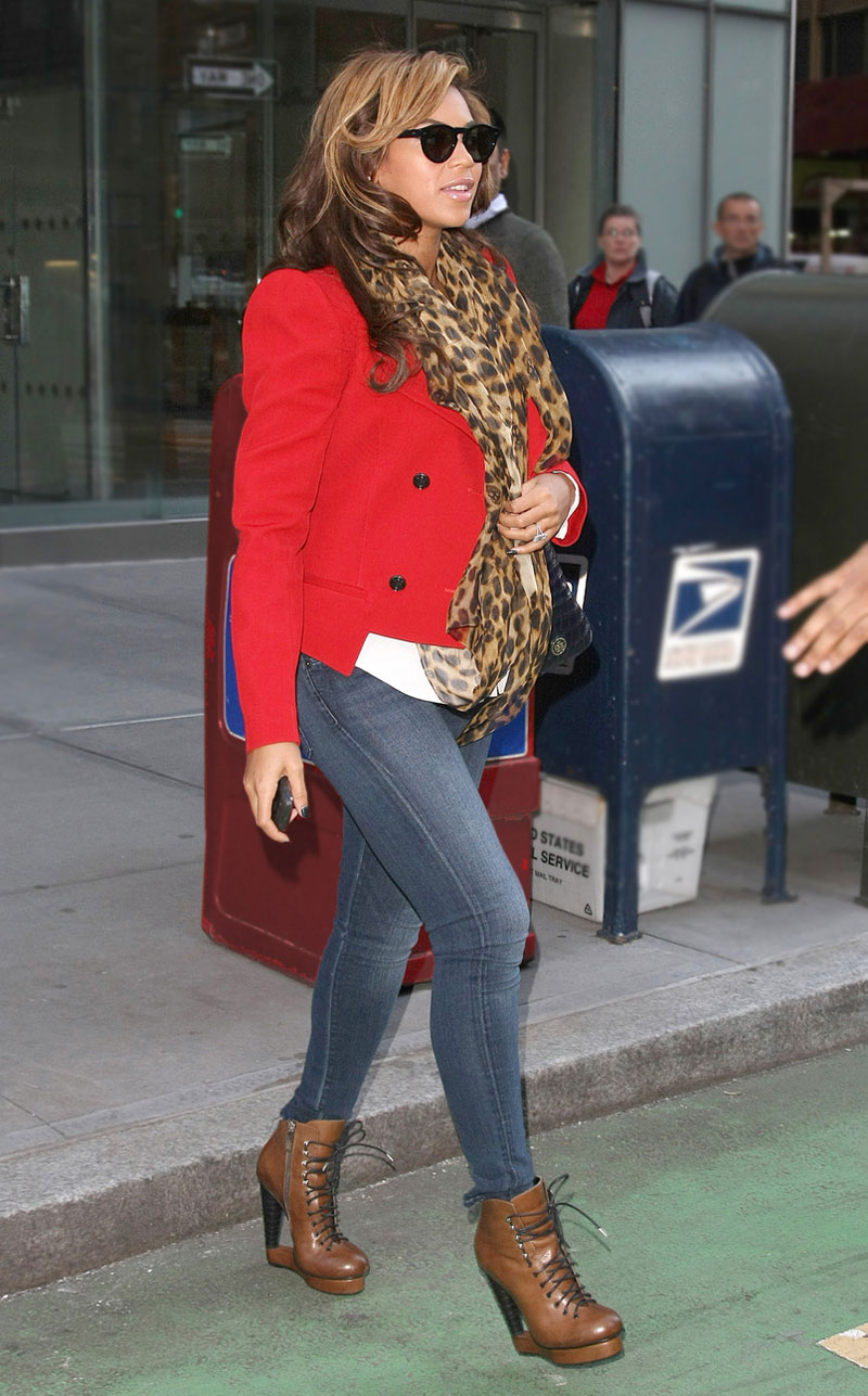 Shop Beyonce's red jacket and leopard scarf look for less.