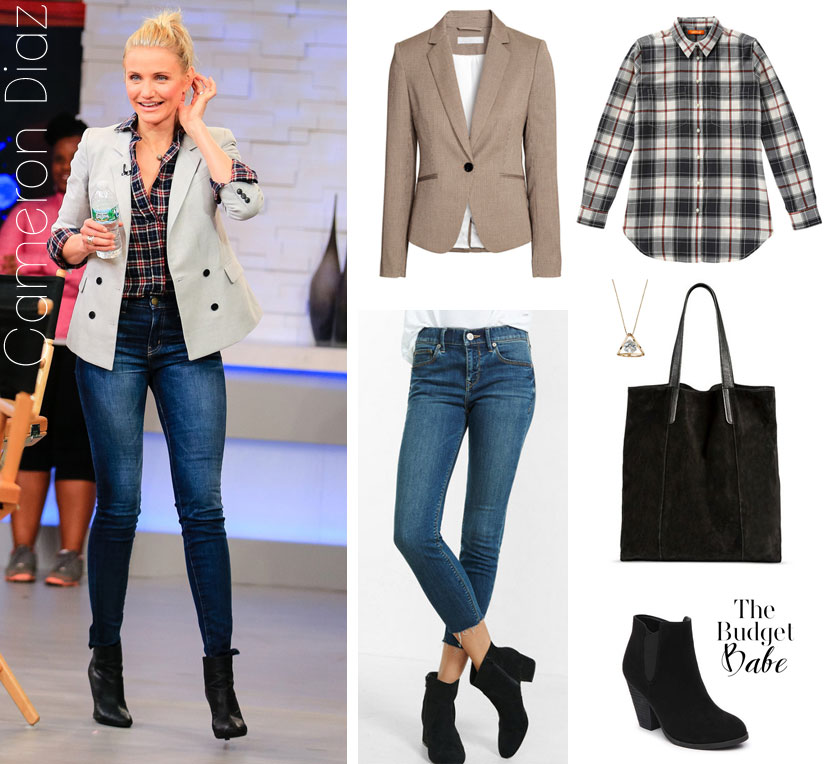 Cameron Diaz looks polished and put together in a tan blazer, plaid shirt, skinny jeans and ankle boots.