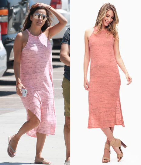 Eva Longoria wears Splendid's midi tank dress in pink.