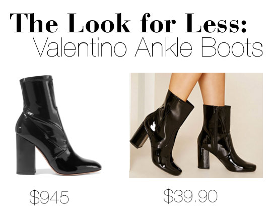 Get Valentino's black patent leather midi boots look for less.