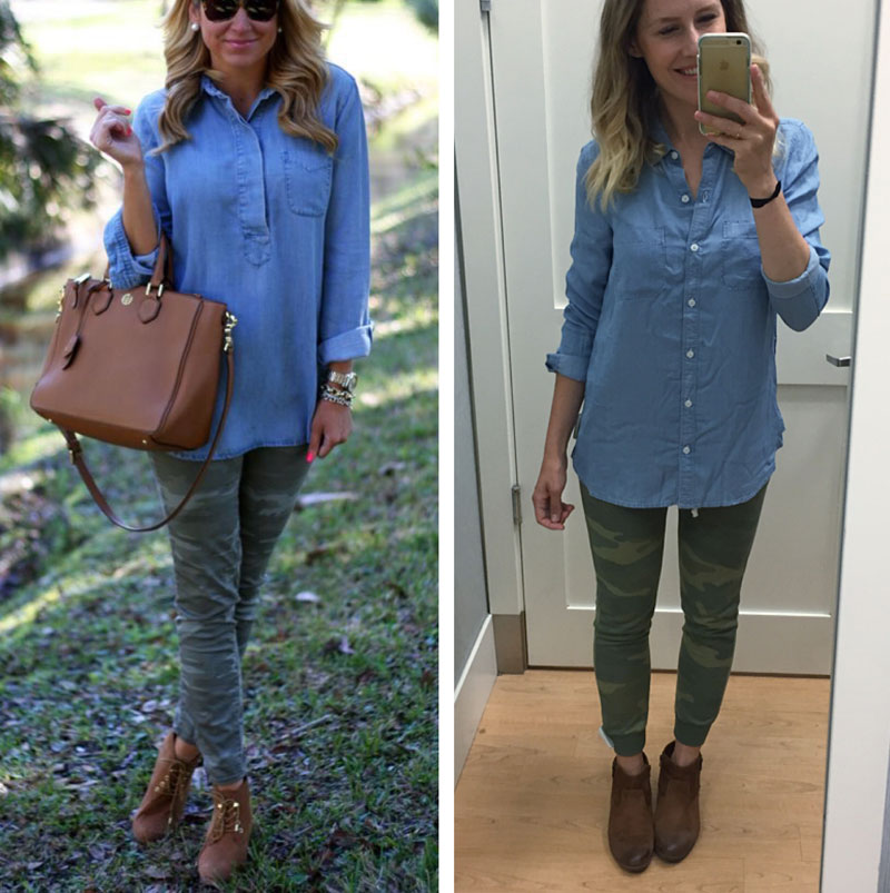 Mix chambray and camo print for a fun fall look.