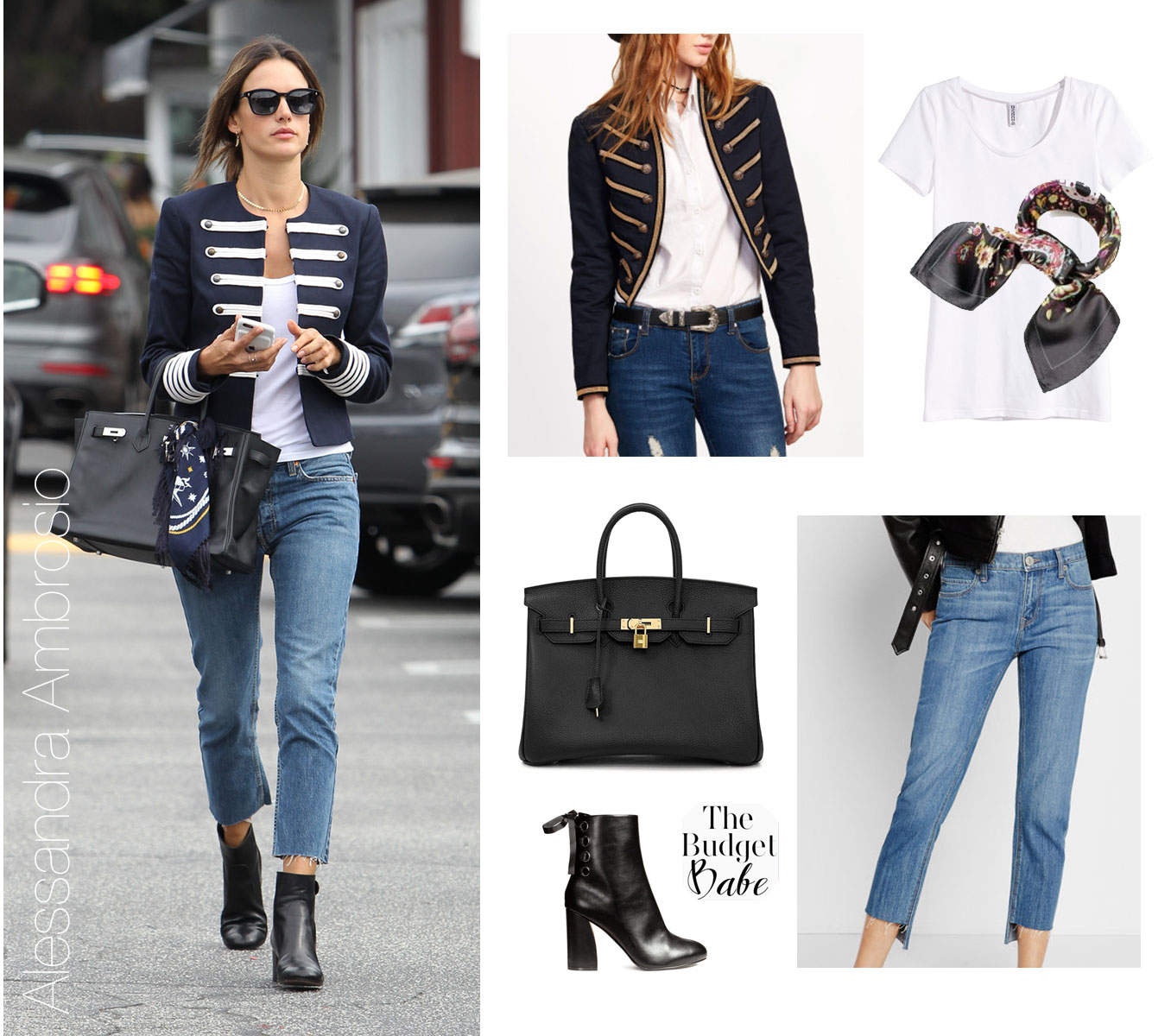 Alessandra Ambrosio wears a military band jacket with fray edge jeans and black ankle boots.
