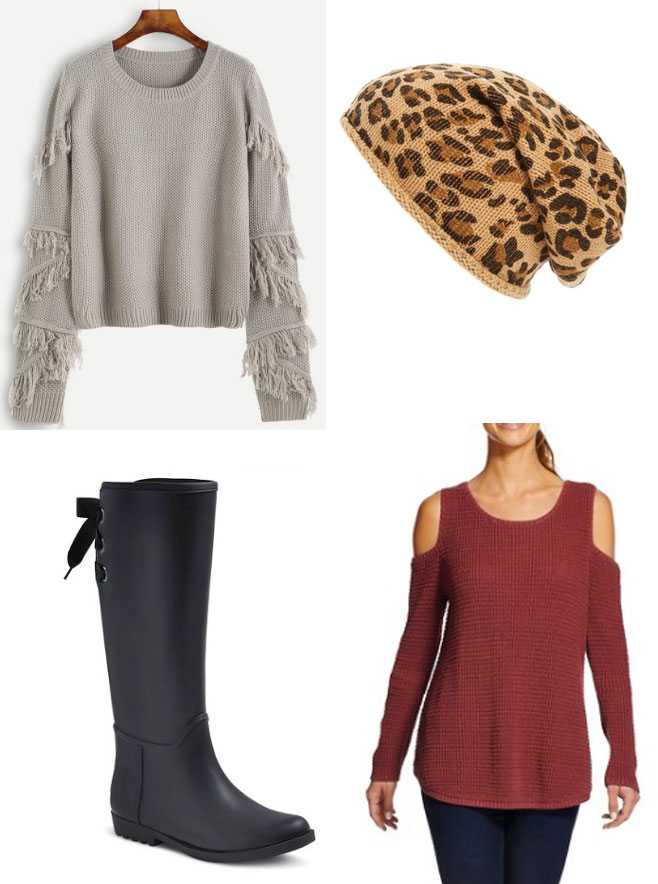 Fringe sweater, cold shoulder top, leopard beanie and lace-up rainboots for Fall on a budget