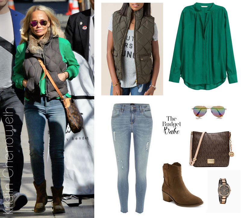 Kristin Chenoweth looks comfy and cozy in a puffer vest, emerald green blouse, skinny jeans and ankle boots.