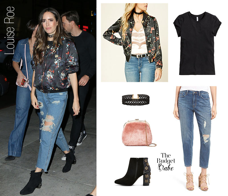 Louise Roe wears a floral bomber jacket, distressed boyfriend jeans and ankle boots.