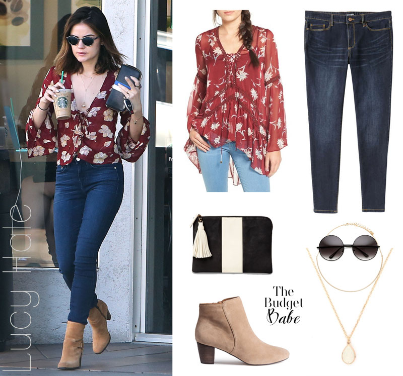 Lucy Hale looks cute and casual in a floral v-neck blouse, skinny jeans and tan ankle boots.