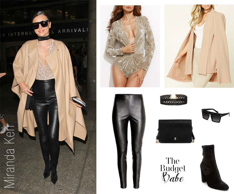 Miranda Kerr stuns in a camel coat and leather leggings.