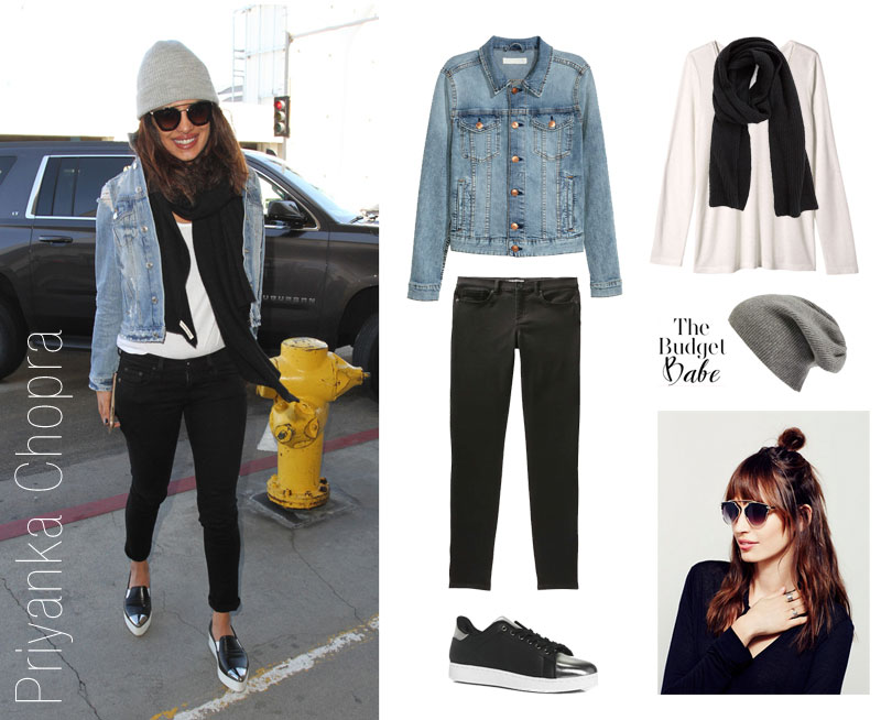 Priyanka Chopra wears a denim jacket and black skinny jeans with Miu Miu cap-toe skate sneakers.