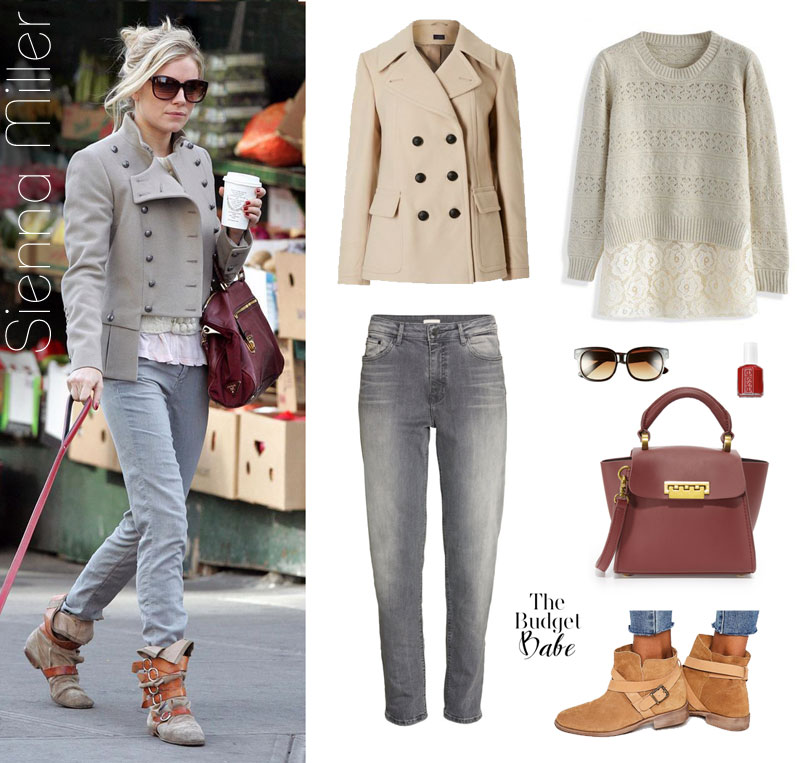 Sienna Miller wears a beige peacoat, gray jeans and buckle ankle boots while walking her dog.