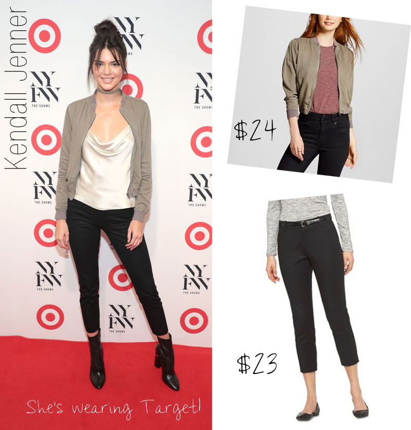 Kendall Jenner's bomber jacket and ankle crop pants from Target are both under $25!