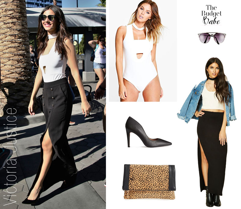 Steal Victoria Justice's fashion style with a choker top and split maxi skirt.