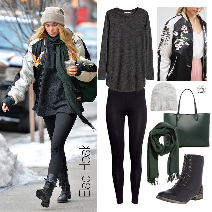 Elsa Hosk Silk Bomber Jacket and Green Scarf