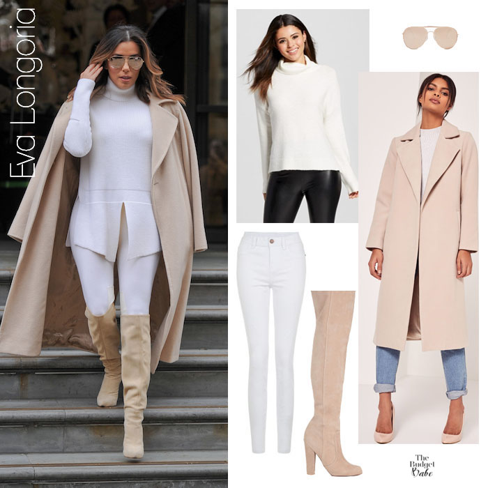 The New Natural Eva Longoria 39 S Wool Duster And All White Look For Less The Budget Babe