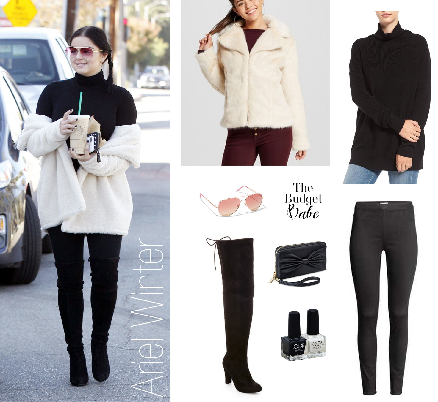 Ariel Winter wears an all black ensemble with a faux fur coat in ivory and over the knee boots.