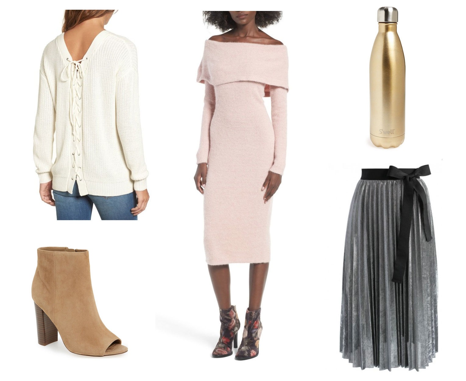 Off-the-shoulder sweater dress, champagne gold water bottle and more