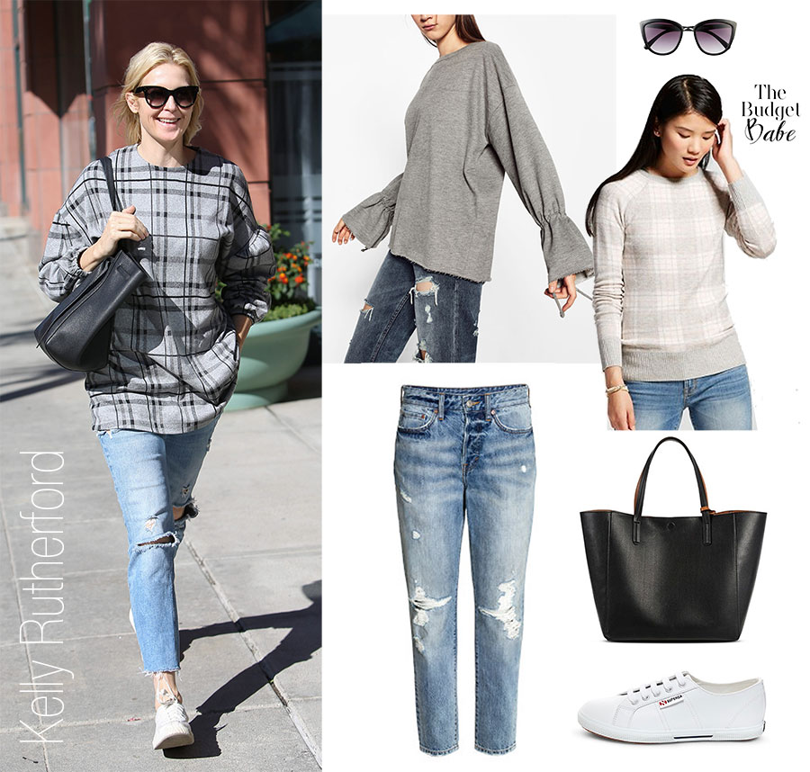 Kelly Rutherford's plaid sweatshirt and white sneakers look for less