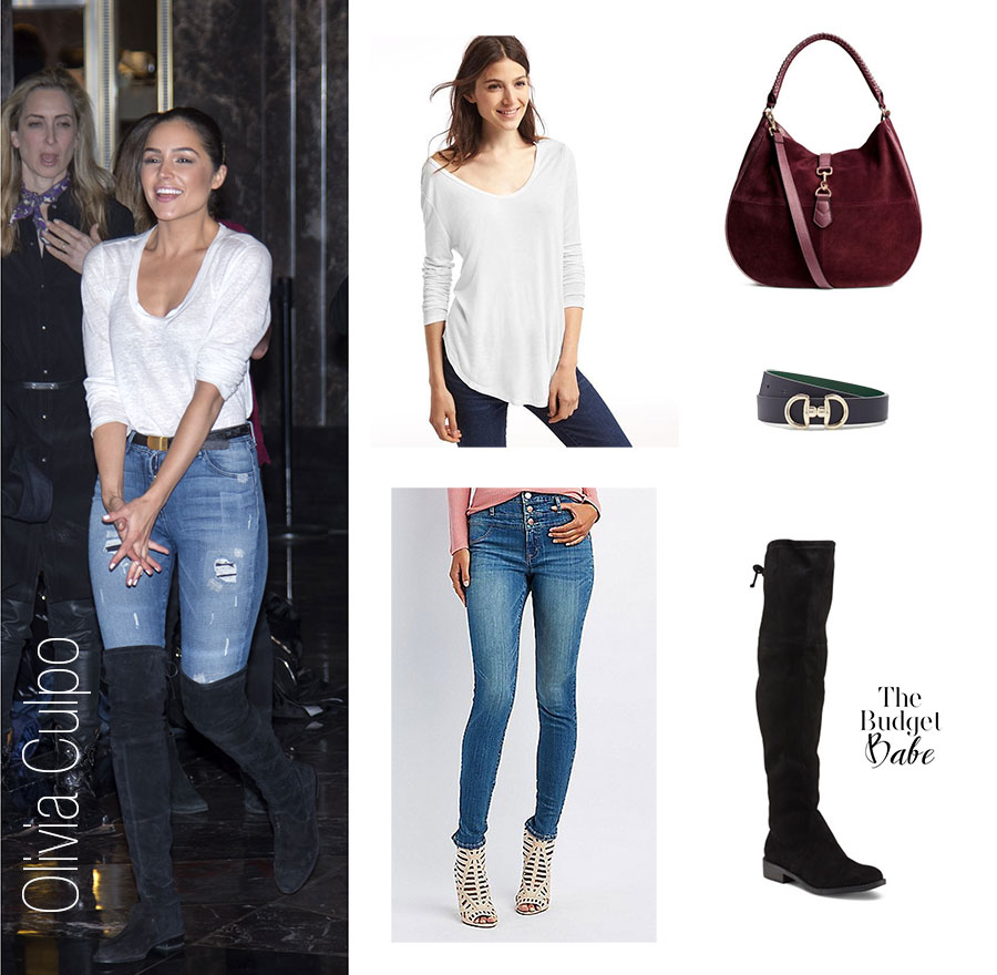 Olivia Culpo wears over the knee boots, a white top and high waist skinny jeans.