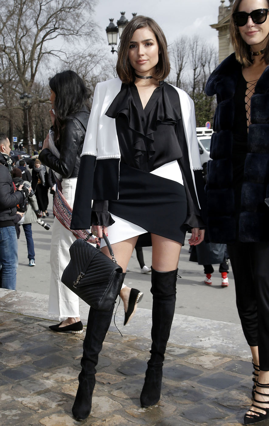 Olivia Culpo attends the Mugler fashion show in Paris.
