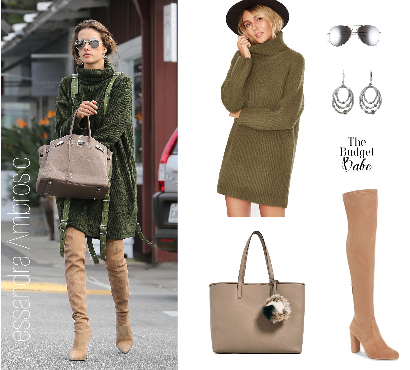 Shop Alessandra Ambrosio's turtleneck sweaterdress and over-the-knee boots look for less.
