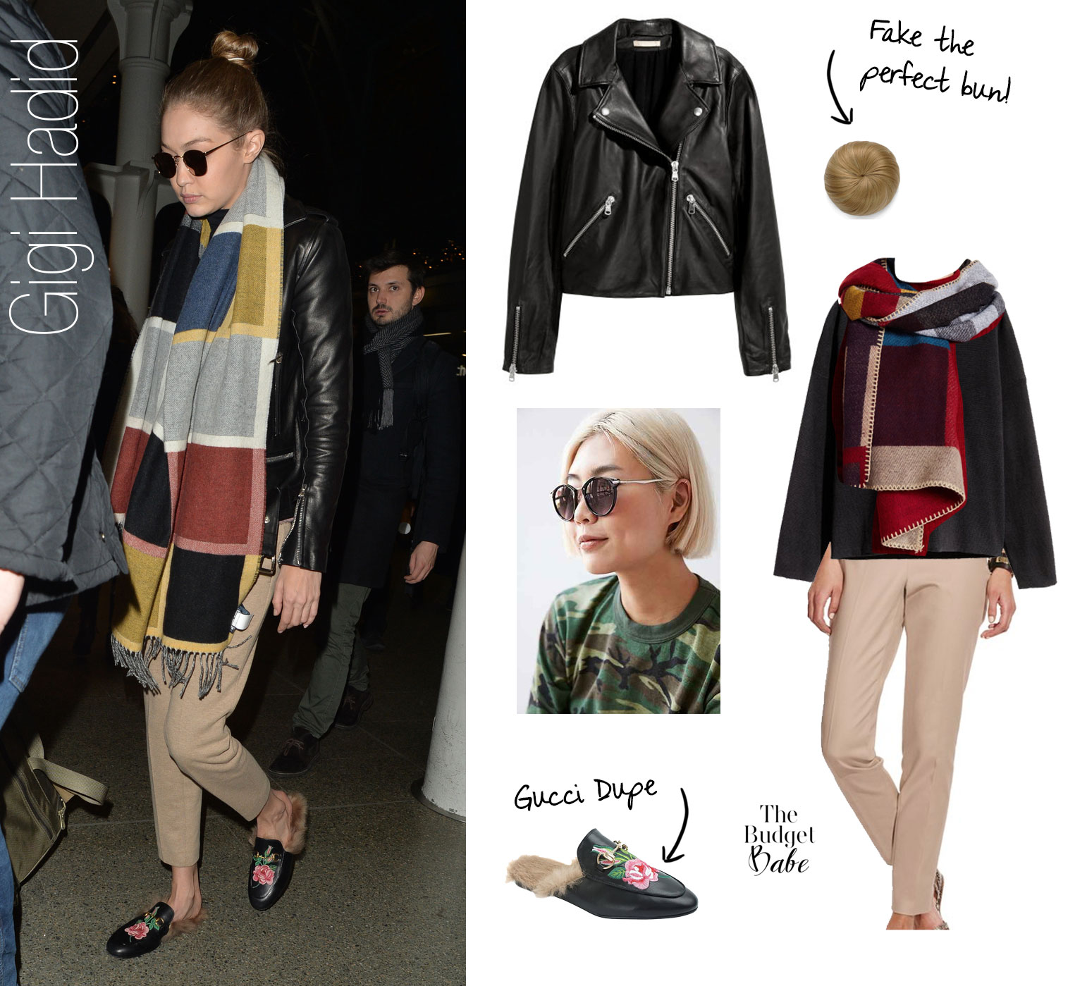 Gigi Hadid's Colorblock Scarf and Gucci Loafers Look for Less